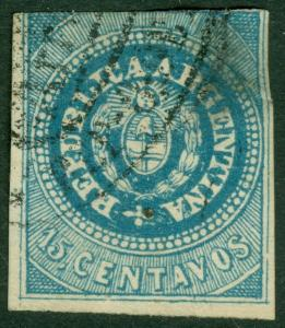 EDW1949SELL : ARGENTINA 1862 Sc #7a w/o accent over 'U' Used Very RARE Cat $4725