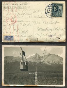 366 - SLOVAKIA 1941 CENSORED Tatra Postcard to Germany. SLOVAKOTOUR 20h Stamp