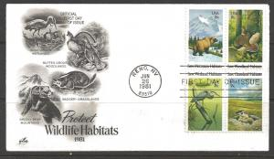 United States 1981 Wildlife Habitats First Day Cover 18 cents Block of Four