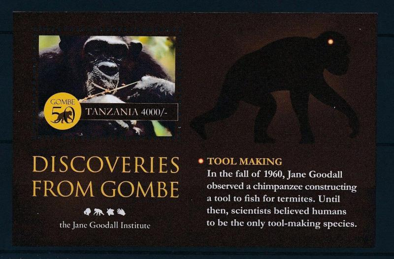 [27005] Tanzania 2010  Jane Goodall Tool Making Chimpanzee MNH Sheet