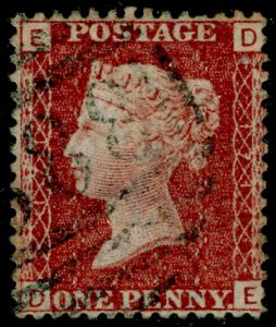 SG44, 1d lake-red plate 171, FINE USED. DE