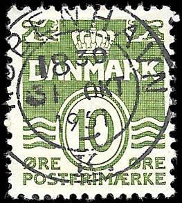 1921 - DENMARK SC# 94 -  USED - CV $.25 - $.60 - GOOD ALBUM  FILLER