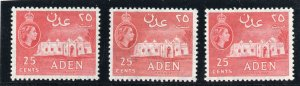 Aden 1953 QEII 25c in all three listed shades superb MNH. SG 54, 55, 55a.