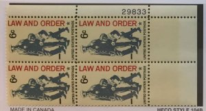 US #1343 PB (MNHOG) [Plate Block Mint No Hinge Original Gum] Law and Order