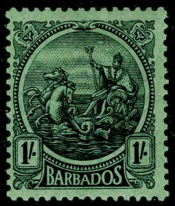 BARBADOS SG226, 1s Black & Emerald, M MINT. Cat £55.