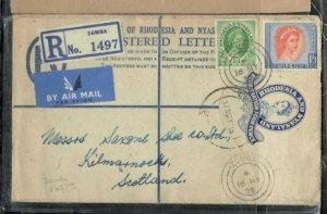 RHODESIA & NYASALAND COVER (P0506B) 1955 QEII 4D RLE+2D+ 1/3 REG A/M ZOMBA TO UK