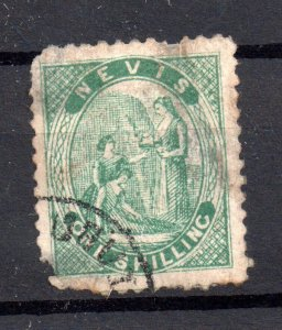 Nevis 1861 1/- green used with faults WS16707