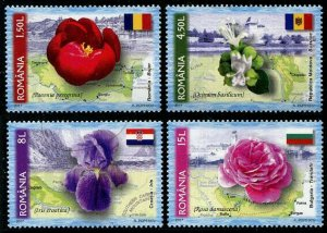 HERRICKSTAMP NEW ISSUES ROMANIA Sc.# 5913-16 Flowers, National Symbol
