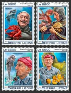Sierra Leone - 2017 Jacques Cousteau - 4 Stamp Set - SRL17501a