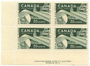 Canada - USC #362 Plate 3 MS 1956 20c Paper Industry mint blocks - NH