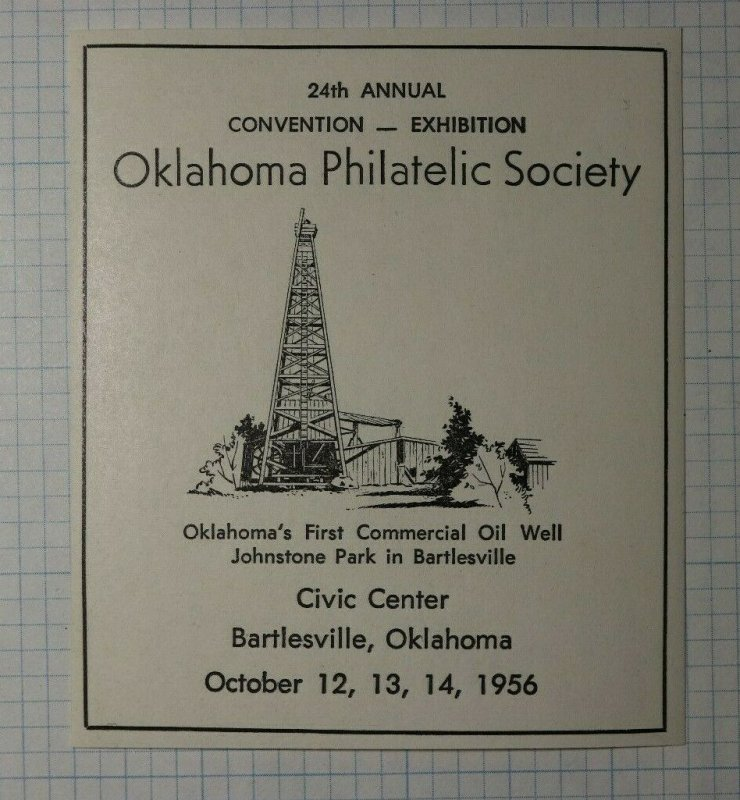 OPS Convention 1956 Bartleville OK 1st OIl Well Philatelic Souvenir Ad Label