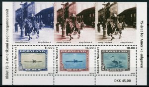 Greenland Stamps-on-Stamps Stamps 2020 MNH American Issue SOS Ducks 3v M/S