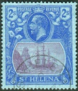 ST HELENA-1927 2/- Purple & Blue/Blue.  A fine used example Sg 108