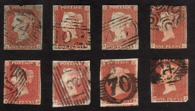 Lotx8, 1841 GB 1p Penny red Used, Sc 3, Sg 8, Imperforated, Plates?