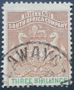 Rhodesia 1894 Three Shillings SG 25 used
