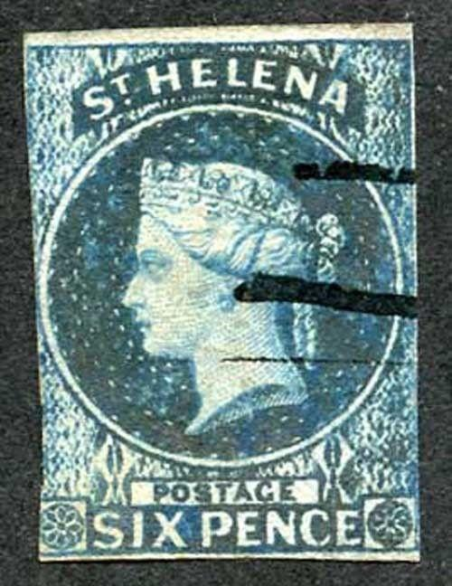 St Helena SG1 6d Blue used with manuscript cancel cat 180 pounds
