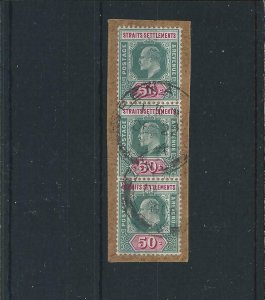 STRAITS SETTLEMENTS 1902-03 50c DEEP GREEN & CARMINE VERT STRIP OF THREE GU