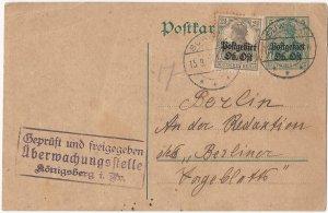Poland (German Occupation) 1917 Suwalki Censored 5 Pfg. + 2½ Pfg. Postal Card