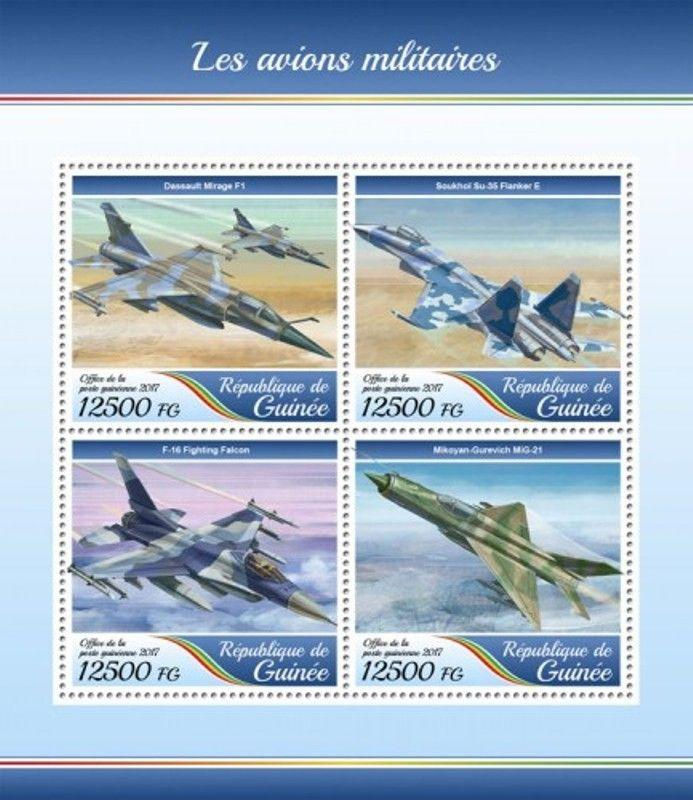 Guinea - 2017 Military Planes - 4 Stamp Sheet - GU17401a