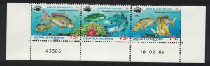 New Caledonia Fish Bottom strip of 3v Date Number SG#1461-1463 MI#1489-1491