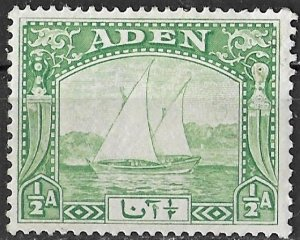 Aden 1/2a light green Dhow issue of 1937, Scott 1 MH