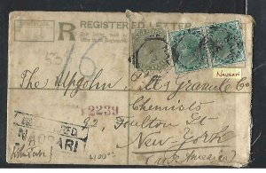 INDIA  (P0110B) 1898  QV2A RLE UPRATED QV 4A= 1/2AX2 TO USA,COVER OPENED OUT