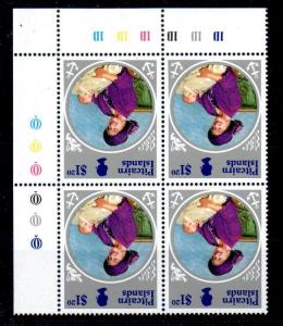 PITCAIRN ISLANDS SG271w 1985 QUEEN MOTHER $1.20c WMK INVERTED MNH BLK OF 4