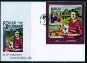CENTRAL AFRICA 2016 90th BIRTH ANNIVERSARY OF QUEEN ELIZABETH II S/S FDC