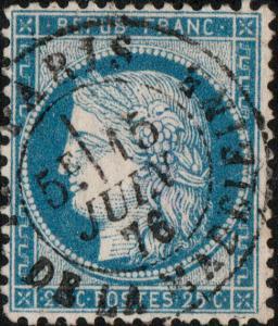 FRANCE - Yv.60C 25c bleu (type III) - obl CàD PARIS / PL. DE LA MADELEINE - TB