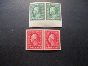 US Stamps S# 383-384, 2v set imperf'd pairs, MNH MLH OG