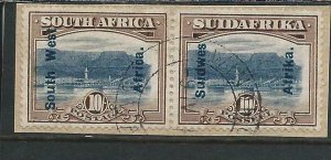 SOUTH WEST AFRICA 1927 10s BLUE & BISTRE-BROWN ON PIECE SUPERB USED SG 54