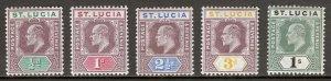ST. LUCIA — SCOTT 43-48 (SG 58-62) — 1902-03 KEVII SET — MH — SCV $67