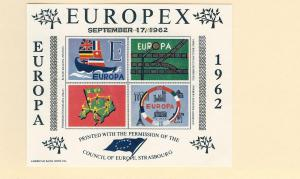 Council of Europe, Europa 1962 Imperf S/S (4), MNH