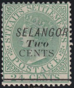 1891 Malaya Selangor 2c on 24c Green overprint, SG 47 MH