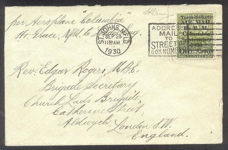 NEWFOUNDLAND RARE #C5 on Cover w/Cert - 1930 Columbia Ovpt