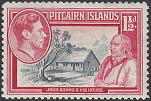 Pitcairn Islands # 3 hinged ~ 1½p John Adams and His House