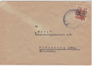 Germany Altenoythe 1948 Allied Occupation Stamps Cover to Oldenburg Ref 32365