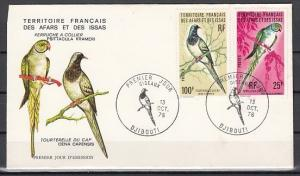 Afars & Issas, Scott cat. 414 & 418. Bird values, 13/OCT/76.  First day cover.