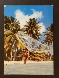 1995 Tahiti to Switzerland Fishing with a Throw Net  Real Picture Postcard Cover