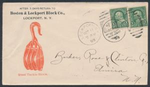 BOSTON & LOCKPORT BLOCK & Co. 1898 #279 ON ADVT COVER LOCKPORT, NY BR3509 HSAM