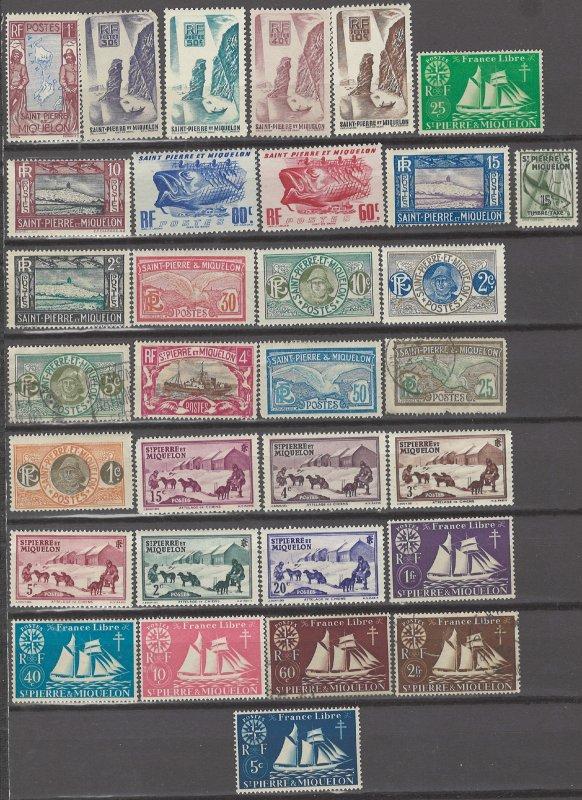 COLLECTION LOT # 3121 SAINT PIERRE & MIQUELON 31 MH/USED STAMPS 1909+ CV+$22