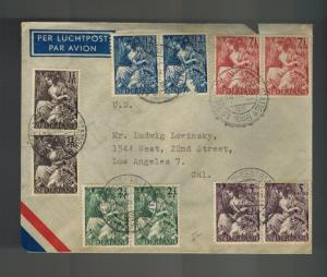 1946 Amsterdam Netherlands Cover to USA  Fortuna Comp Set Double B159-B163
