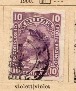 Chile 1900 Early Issue Fine Used 10c. NW-09275