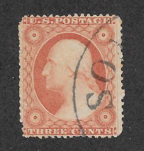 26  Used, 3c. Washington,  scv: $10