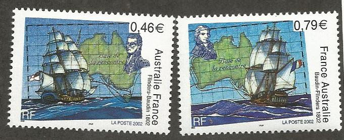 FRANCE 2882-2883, MNH, PAIR OF STAMPS, ENCOUNTER OF MATTHEW FLINDERS AND NICO...