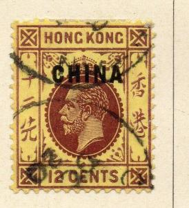 China 1917 Early Issue Fine Used 12c. Optd 322561