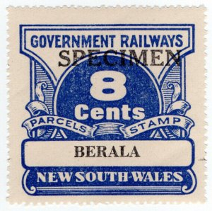 (I.B) Australia - NSW Government Railways : Parcels Stamp 8c (Berala)