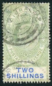 Gibraltar SG52 KEVII 2/- Green and Blue Wmk Crown CA (tone spot) Fine Used
