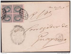 O) 1867 PUERTO RICO, 1/2 REAL PLATA F.-ISABEL II-BLOCK FOR 4 IMPERFORATED, JUDIC