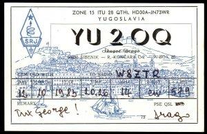 QSL QSO RADIO CARD YU2OQ,Yugoslavia,Skugot Drago,Village,Ships, (Q3041)